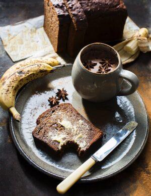 Gluten-free dairy-free Banana Bread slice refined sugar free