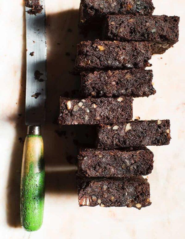 Gluten-free Dark Chocolate Prune And Walnut Brownie
