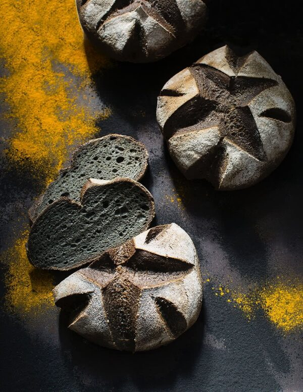 Gluten-free vegan Sourdough Bread Activated Charcoal And Tumeric