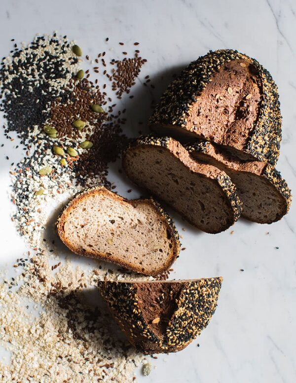 Gluten-free and vegan Sourdough Bread Seeded