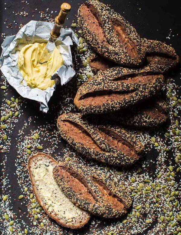 Gluten-free Vegan Sourdough Lunch Roll Seeded