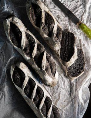 Wholegreen bakery gluten free charcoal turmeric baguette